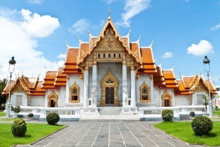 Een tempel zoals je ze veel tegenkomt in Thailand