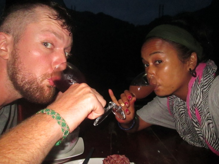 En na al dat harde werk een welverdiend glaasje homemade organic starfruit wine!!