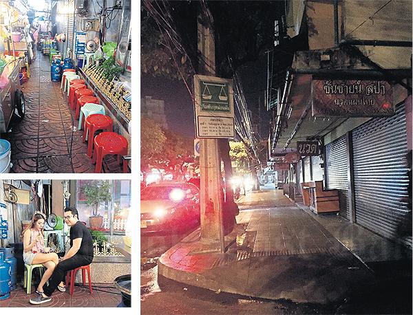 Links: op sommige plekken mogen er geen tafeltjes meer staan en moet er dus met het bord op schoot gegeten worden. Rechts: Gaat dit het nieuwe (lege) straatbeeld van Bangkok worden? (foto: Bangkokpost)